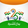 Indian republic day banner celebration 26 january vector illustration
