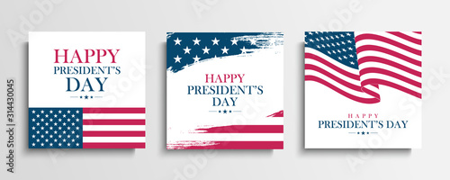 Obraz USA President's Day greeting cards set with United States national flag. Washington's birthday. United States national holiday vector illustration. - fototapety do salonu