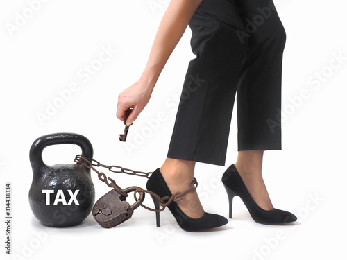 Woman's legs with chains and weights. The tax concept . Wallpaper Mural