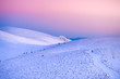 canvas print picture - Soft morning light over the top of winter mountains Fatra, Slovakia