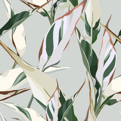 Naklejka Do salonu Seamless floral pattern with leaves, watercolor. Vector illustration.