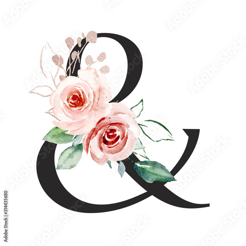 Photo Ampersand, alphabet with watercolor flowers roses and leaf