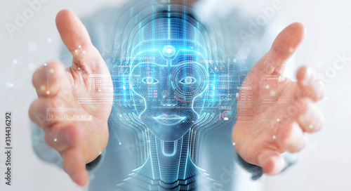 Fototapeta Businessman using digital artificial intelligence head interface 3D rendering obraz