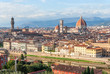 Beautiful view on hart of amazing Florence city and the Cathedral at sunrise, Florence.
