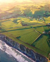 Farm And Pastures Near Cliffs ...