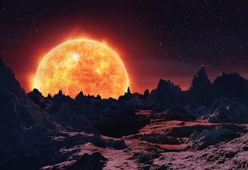 3D Rendering of Betelgeuse Red Giant Rising
