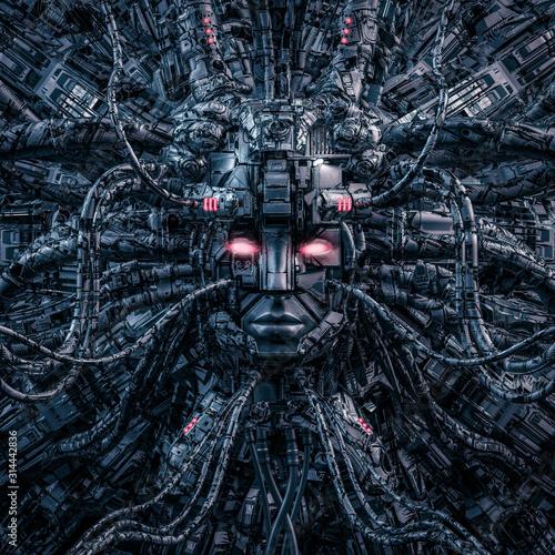 Fotomural Digital goddess reloaded / 3D illustration of robotic science fiction female art