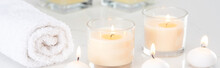 Burning White Candles In Glass...