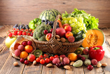 Assorted Of Fruit And Vegetable In Wicker Basket