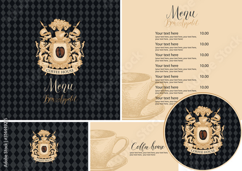Obraz Vector set of design elements for coffee house in retro style. Menu, business cards and drink stands with vintage coat of arms and hand-drawn cup on a black checkered background - fototapety do salonu