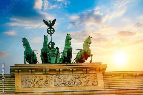 Fototapeta Brandenburg Gate Brandenburger Tor details at sunset in Berlin, Germany. obraz