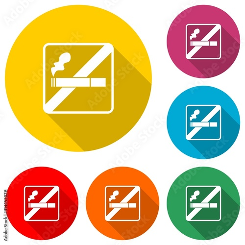 No smoking icon isolated with long shadow Wallpaper Mural