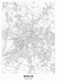 Berlin city map poster. Detailed map of Berlin (Germany). Transport system of the city. Includes properly grouped map features (water objects, railroads, roads etc). - 314455070
