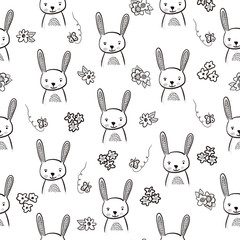 Bunny seamless black and white pattern. Hand drawn rabbit head seamless background. Doodle bunny face and flowers. Monochrome kids drawing for fabric, surface pattern design, wallpaper, home decor