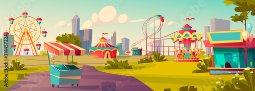 Fotografija Amusement park, carnival or festive fair cartoon vector illustration