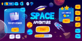 Fototapeta Miasto - Graphic user interface for space adventure game. Vector screen of app gui design with glossy menu buttons and icons, panel with level and assets, start banner and background with rocket and planets