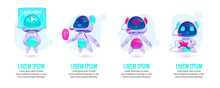 Cute Chat Bot, Robot Assistant In Different Poses. Vector Set With Futuristic Funny Character With Artificial Intelligence For Mobile Messenger With Service Center, Customer Support