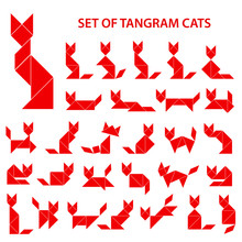 Set Of Vector Tangram Puzzles (geometric Puzzle) For The Development Of Logical Thinking Of Children And Adults. Collection Of 29 Monochrome Shapes Of Cats. Vector Illustration
