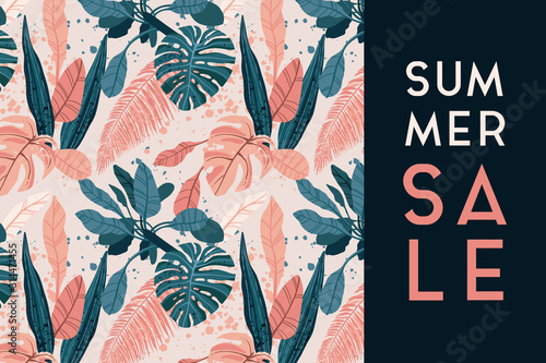 Obraz Summer tropical background with exotic palm leaves and plants. Sale promotional design. Vector floral background. - fototapety do salonu