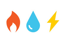 Gas Water Electricity Icons. C...