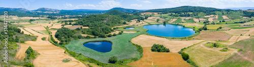 Drone view, Lagunas de Gayangos - Antuzanos, Gayangos and Bárcena de Pienza, Merindad de Montija, Las Merindades, Burgos, Castilla y Leon, Spain, Europe