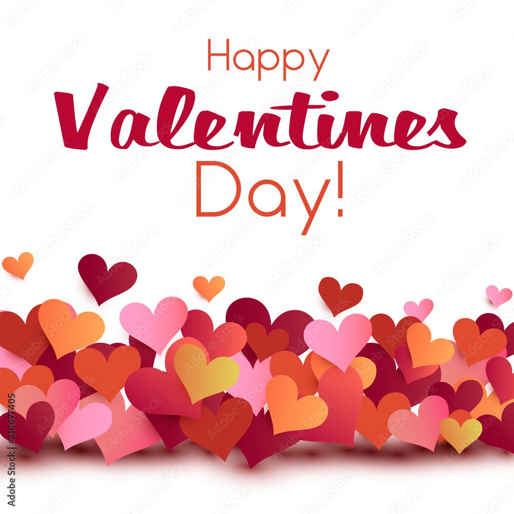 Fototapeta Valentine card origami style template, valentines day background