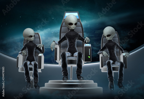 Fotografie, Obraz Three space aliens in black suits are flying in space in a spaceship