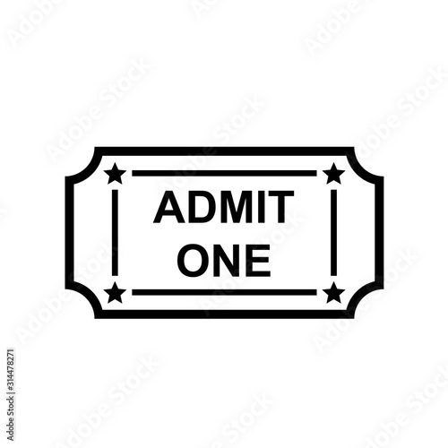 Admit one ticket outline icon Wallpaper Mural
