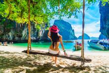 Traveler Woman In Bikini Relax...