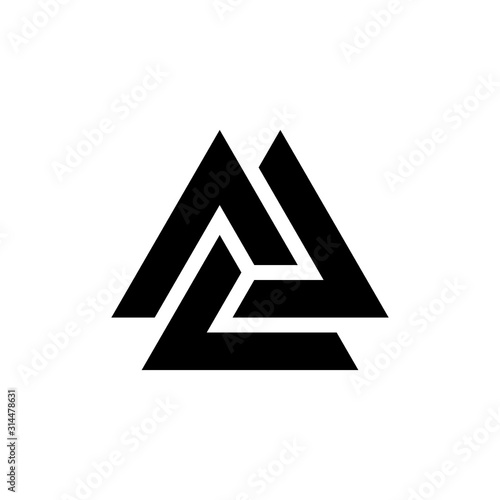 Viking Valknut glyph icon Canvas Print
