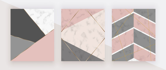 Geometric cover with pink, grey triangular shapes, golden lines on the white marble texture. Modern backgrounds for menu, banner, card, flyer, invitation, product package, brochure.