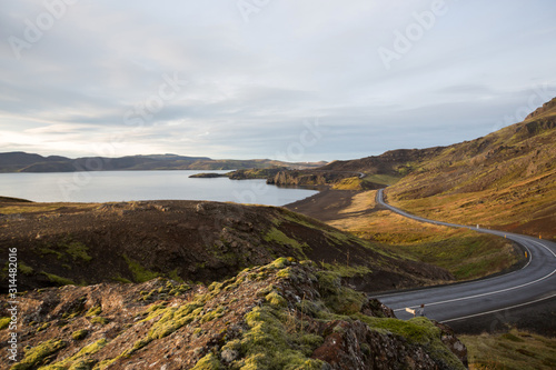 Geothermal area in Krysuvik on early sunny morning, Southern Peninsula (Reykjane Canvas Print
