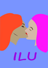 Vector Image. Two Lesbians Kis...