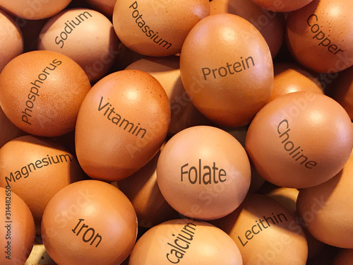 Valokuvatapetti Fresh brown eggs with printed of nutrition facts on eggsshell.