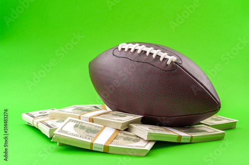 Winning bet on sporting event, money in sport and sports betting conceptual idea Fotobehang