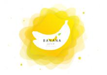 Banana Tropical Fruit Fresh Juice For Cocktail. 3d Abstract Shape Liquid Splash. Flat Fluid Of Creative Paint Blend. Modern Vector Illustration Design Layout