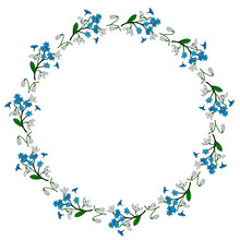 Round Frame With Snowdrops And...