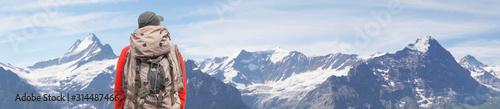 Fototapeta Alpine peaks of Grindelwald and Jungfrau. Landskape background of Bernese highland. Alps, tourism, journey, hiking concept. obraz
