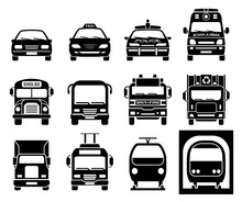 Set Of Front View Icons Of Police Car, Ambulance Car, Fire Department Vehicle, Taxi Car, Garbage Collector, School Bus, Truck, Metro And Train. Transportation Icons.