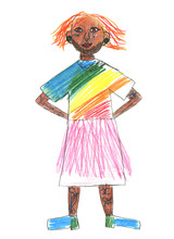 Tolerance And Diversity Through The Eyes Of A Child. Stylization For A Children's Drawing. A Man With Tattoos In Colorful Clothes. Isolated On White Background.