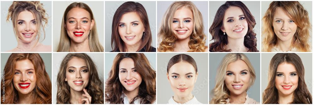 Fototapeta Cute smiling beauty. Beautiful female faces collage. Happy women portraits, positive emotions