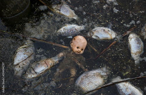 Symbolic image of the abandoned baby doll floating in the middle of group of dea Wallpaper Mural