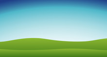 Background Scene With Blue Sky And Green Grass