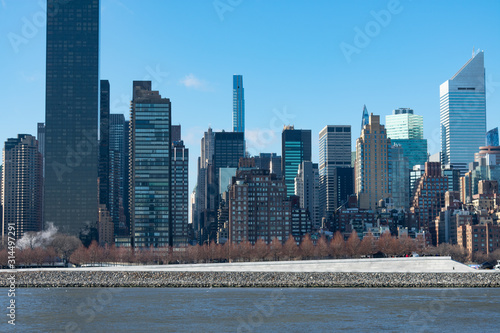 Midtown Manhattan Skyline along the East River in New York City