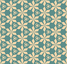 Vector Abstract Geometric Seamless Pattern With Triangular Shapes, Hexagonal Grid, Flower Silhouettes. Retro Vintage Ornamental Texture, Repeat Background. Elegant Ornament In Tan And Teal Colors