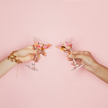 Two Female Hands Holding Wine ...