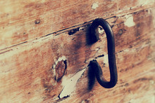 Old Rusty Handle On A Wooden A...