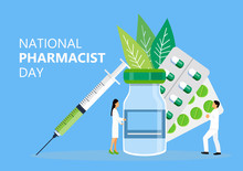 National Pharmacist Day Is Celebrated In January 12. Doctor Of Pharmacy Is Working In Drugstore And Standing Near Medicine Pills, Bottle. Staff Helps To Choose Medicaments. Healthcare Concept