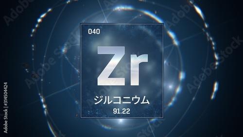 Vászonkép  3D illustration of Zirconium as Element 40 of the Periodic Table