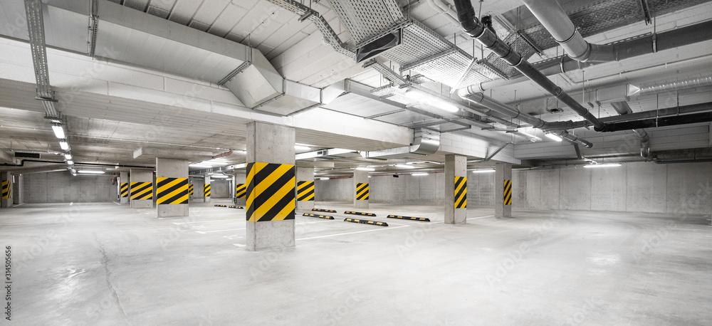 Fototapeta Garaż podziemny, miejsce postojowe na samochód - duży parking